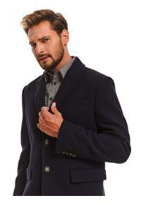 TOP SECRET - Płaszcz klasyczny z wełnianej tkaniny. Okazja: do pracy, na co dzień. Kolor: niebieski. Materiał: tkanina, wełna. Wzór: aplikacja. Sezon: zima. Styl: klasyczny