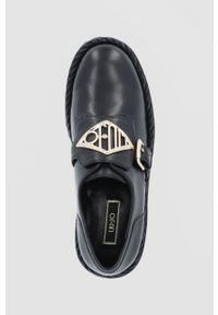 Liu Jo - Półbuty skórzane. Nosek buta: okrągły. Kolor: czarny. Materiał: skóra. Obcas: na obcasie. Wysokość obcasa: średni
