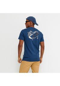 Niebieski t-shirt House z nadrukiem