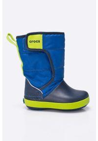 Niebieskie buty zimowe Crocs z cholewką, na zimę