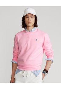 Ralph Lauren - RALPH LAUREN - Różowa bluza z logo. Typ kołnierza: polo, bez kaptura. Kolor: wielokolorowy, fioletowy, różowy. Materiał: materiał. Wzór: haft