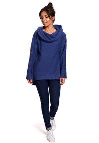 e-margeritka - Bluza damska z kapturem niebieska - l. Okazja: na co dzień. Typ kołnierza: kaptur. Kolor: niebieski. Materiał: bawełna, dzianina, materiał, poliester. Długość: długie. Styl: casual