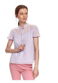 Fioletowa bluzka TOP SECRET krótka, z krótkim rękawem