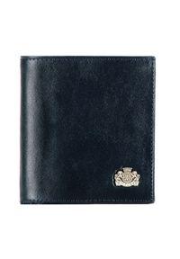 Wittchen - Damski portfel skórzany z herbem na zatrzask. Kolor: niebieski. Materiał: skóra