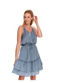 Niebieska sukienka TOP SECRET koszulowa, boho