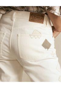 Ralph Lauren - RALPH LAUREN - Beżowe spodnie z aplikacją. Kolor: beżowy. Materiał: bawełna. Wzór: aplikacja #4