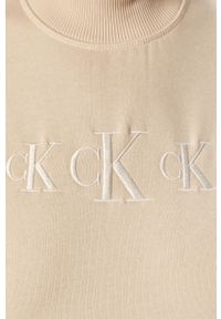 Kremowa bluza Calvin Klein Jeans na co dzień, bez kaptura, casualowa