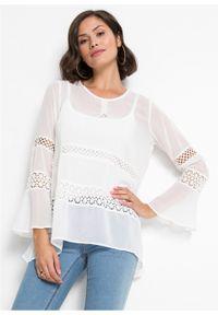 Biała bluzka bonprix w koronkowe wzory, długa