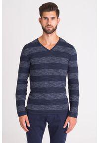Niebieski sweter JOOP! Jeans z aplikacjami, z dekoltem w kształcie v