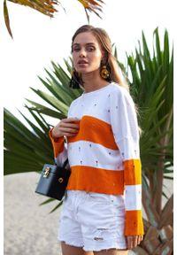 Pomarańczowy sweter Fobya w paski