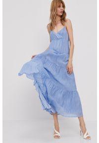 Pepe Jeans - Sukienka Anae. Kolor: niebieski. Materiał: tkanina. Długość rękawa: na ramiączkach. Typ sukienki: rozkloszowane
