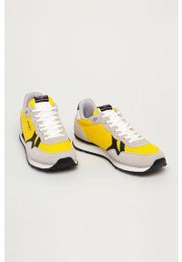 Żółte sneakersy Pepe Jeans z okrągłym noskiem, na sznurówki, z cholewką
