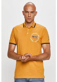 Pomarańczowa koszulka polo PRODUKT by Jack & Jones na co dzień, z nadrukiem