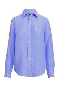 Ralph Lauren - RALPH LAUREN - Koszula z lnu Relaxed Fit. Typ kołnierza: polo. Kolor: niebieski. Materiał: len. Długość rękawa: długi rękaw. Długość: długie. Wzór: haft. Styl: klasyczny #4