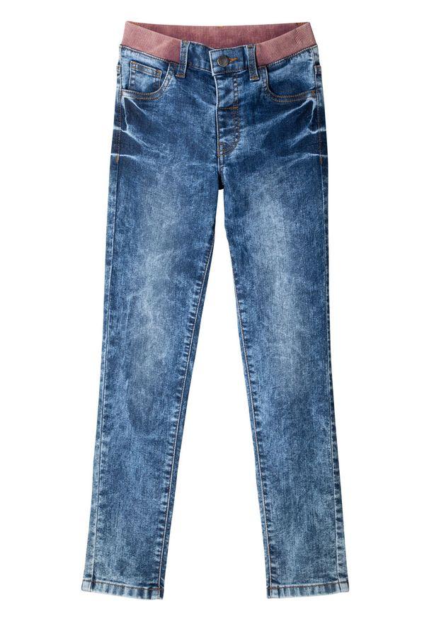 Niebieskie jeansy bonprix w prążki, eleganckie