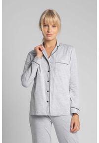 MOE - Bawełniana Koszula od Piżamy z Wypustkami - Popielata. Kolor: szary. Materiał: bawełna
