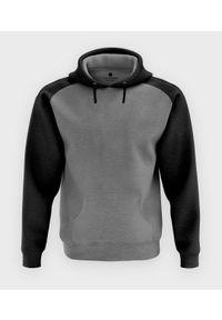 MegaKoszulki - Męska bluza dwukolorowa (bez nadruku, gładka) - czarno-szara. Kolor: wielokolorowy, szary, czarny. Wzór: gładki