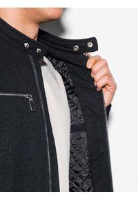 Ombre Clothing - Kurtka męska wiosenna C461 - czarna - XXL. Typ kołnierza: kołnierzyk stójkowy. Kolor: czarny. Materiał: poliester. Sezon: wiosna