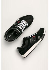 Czarne sneakersy Levi's® na spotkanie biznesowe, w kolorowe wzory, na sznurówki, z cholewką
