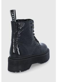 GOE - Botki skórzane. Nosek buta: okrągły. Kolor: czarny. Materiał: skóra. Obcas: na platformie