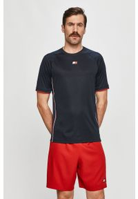 Niebieski t-shirt Tommy Sport sportowy, z aplikacjami