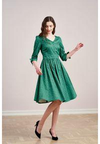 Marie Zélie - Sukienka Odette Idella zielona. Kolor: zielony. Materiał: bawełna, satyna, skóra, materiał