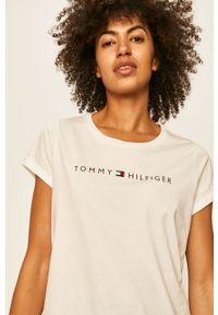 Biała bluzka TOMMY HILFIGER z nadrukiem, na co dzień
