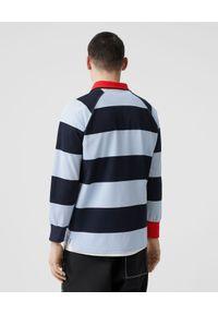 Burberry - BURBERRY - Koszulka Polo w paski. Typ kołnierza: polo. Kolor: czerwony. Materiał: bawełna. Długość: długie. Wzór: paski. Styl: klasyczny