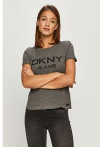 Szara bluzka DKNY na co dzień, casualowa