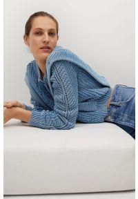 Niebieski sweter rozpinany mango z długim rękawem, casualowy, na co dzień