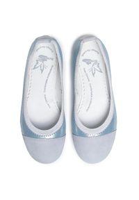 Niebieskie baleriny RenBut na spacer, z cholewką