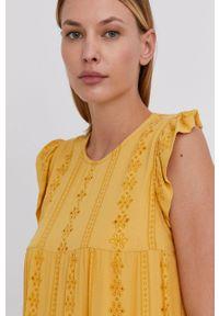 Answear Lab - Sukienka. Kolor: żółty. Materiał: tkanina. Styl: wakacyjny