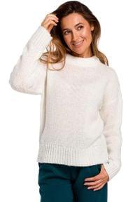 MOE - Ecru Klasyczny Ciepły Sweter. Materiał: wełna, akryl, poliester. Styl: klasyczny