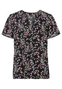 Bluzka z nadrukiem bonprix czarny w kwiaty. Kolor: czarny. Długość rękawa: krótki rękaw. Długość: krótkie. Wzór: kwiaty, nadruk