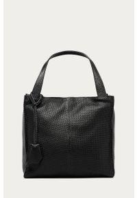 Czarna shopperka Answear Lab gładkie, wakacyjna, skórzana, na ramię