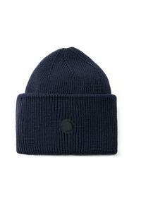 ANIA KUCZYŃSKA - Granatowa wełniana czapka. Kolor: niebieski. Materiał: wełna. Wzór: aplikacja. Styl: klasyczny, casual