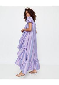 ICON - Asymetryczna sukienka z tafty Bona. Typ kołnierza: dekolt kwadratowy. Kolor: różowy, fioletowy, wielokolorowy. Typ sukienki: asymetryczne