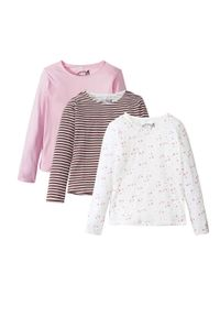 Shirt dziewczęcy z długim rękawem (3 szt.) bonprix pudrowy jasnoróżowy + biel wełny z nadrukiem + w paski. Kolor: różowy. Materiał: wełna. Długość rękawa: długi rękaw. Długość: długie. Wzór: paski, nadruk