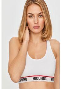 Biały biustonosz sportowy Moschino Underwear z nadrukiem, z odpinanymi ramiączkami