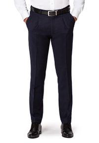 Niebieskie spodnie Lancerto długie, z podwyższonym stanem, w kolorowe wzory, vintage