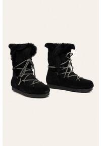 Czarne śniegowce Moon Boot na sznurówki, z cholewką, z okrągłym noskiem
