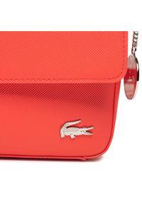 Lacoste - Torebka LACOSTE - Flap Crossover Bag NF2770DC Energie. Kolor: czerwony. Materiał: skórzane. Styl: klasyczny