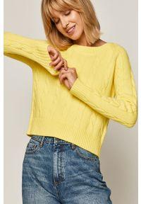 Żółty sweter medicine casualowy, z długim rękawem