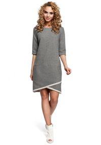 MOE - Sukienka asymetryczna z zakładką u dołu. Okazja: na co dzień. Materiał: bawełna, materiał. Typ sukienki: asymetryczne. Styl: casual