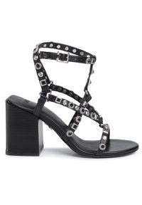 Czarne sandały Bronx casualowe, z aplikacjami, na co dzień