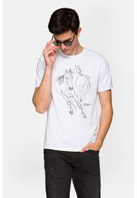 Lancerto - Koszulka Biała Dexter. Okazja: na co dzień. Kolor: biały. Materiał: włókno, materiał, bawełna. Wzór: aplikacja, nadruk. Styl: sportowy, klasyczny, elegancki, casual