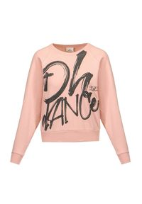 Deha - Bluza DEHA MOVE. Kolor: różowy. Materiał: włókno, bawełna. Długość rękawa: raglanowy rękaw. Wzór: nadruk
