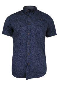 Niebieska koszula casual Just Yuppi w geometryczne wzory, na co dzień