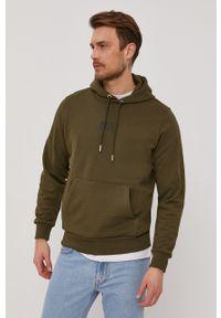 Diesel - Bluza bawełniana. Okazja: na co dzień. Typ kołnierza: kaptur. Kolor: zielony. Materiał: bawełna. Wzór: aplikacja. Styl: casual