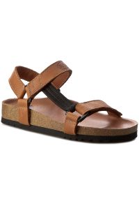 Brązowe sandały Scholl w paski, na rzepy